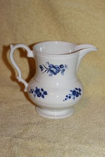 VINTAGE LORD NELSON POTTERY ENGLAND BLUE ROSES TRANSFERWARE PITCHER 6