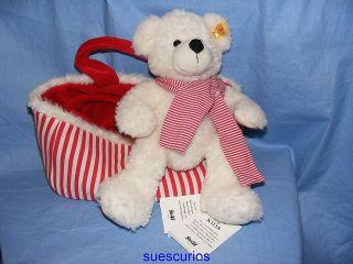 Steiff Soft Teddy Bear   Lotte With Handbag   White   28cm   111495