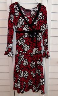 GIRLS MY MICHELLE LONG RED BLACK WHITE DRESS SIZE 8 MODEST