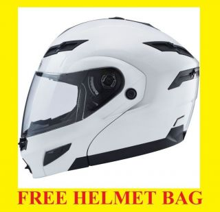 Gmax GM54S Pearl White Modular Motorcycle Helmet street w/ LED Lights