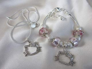SUPER GORGEOUS LITTLE GIRLS HELLO KITTY SILVER NECKLACE OR BRACELET
