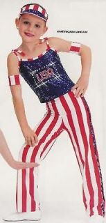 new american dream usa hip hop dance costume sz am