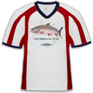 Life Begins at 10 lbs. Rainbow Trout American Angling Fun Mens V Neck