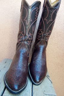 MENS TALL COWBOY WESTERN BOOTS HANDCRAFTED BURGUNDY RANCH RIDING SIZE