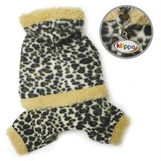 DOG CLOTHES KLIPPO HOODED LEOPARD PRINT Fleece Bodysuit Faux Fur