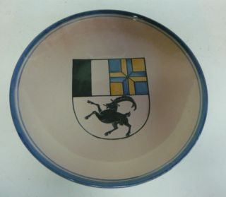 Vintage BODMER KERAMIK SWITZERLAND CERAMIC PLATE BLUE YELLOW FLAG