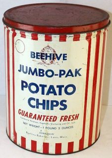 Jumbo Pak Potato Chips 1 LB Tin Can Beehive Bakeries Lynn, MASS