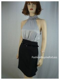 Ruffle Skirt Belted faux Silk Halter Top Cocktail Dress Suit S M L