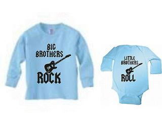 BIG BROTHERS ROCK LITTLE BROTHERS ROLL SET OF 2 BLUE TSHIRT & BODYSUIT