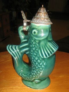 vintage antiqu e german lidded beer stein fish time left