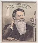VICTORIAN TRADE CARD, BUCKINGHAMS DYE FOR WHISKERS, FOLD DOWN BEFORE