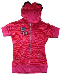 Jessica Louise Pink & Red Tiger Stripe Kitty Cat Ear Hoodie Top