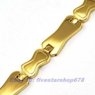 8mmg 18K YELLOW GOLD PLATED BRACELET SOLID FILL GP CHAIN LINK