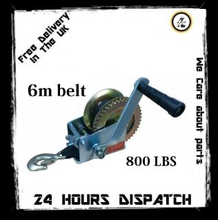 MANUAL HAND WINCH 800 LBS BOAT TRAILER CARAVAN OFF ROAD 20FT 6m STRAP