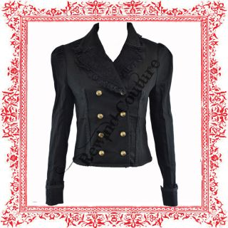 HELL BUNNY/ SPIN DOCTOR LUCILE BLACK GOTH MILITARY JACKET COAT