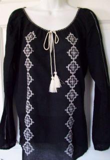 LUCKY BRAND Womens Black Peasant Boho Vintage Blouse Top Shirt $79