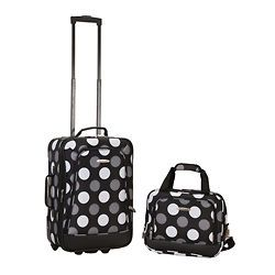 New Black Polka Dot 2 piece Lightweight Carry on Luggage Set
