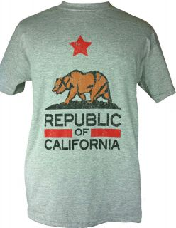 NEW CALIFORNIA REPUBLIC STATE FLAG T SHIRT GRAY 4 SIZES AVAILABLE