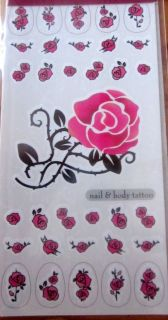 gorgeous temporary tattoo nail art roses easy to use from