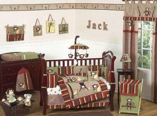 MONKEY ANIMAL JUNGLE THEME BABY CRIB BEDDING SET FOR NEWBORN BOY BY