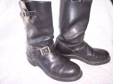 1960 engineer black motorcycle boots mens 8 E / W leather bike shoes