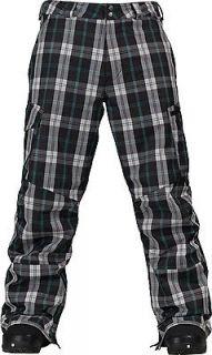BURTON Mens Cargo Snowboard Pants GMP True Black Tartan Plaid MED