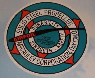 McCauley Steel Propeller Aviation Vinyl Decal New, DEC 0103