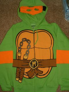 Mutant Ninja Turtles Tmnt Michelangelo Zip up Hoodie Jacket Shirt