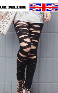 Womens Ladies lady GaGa sexy black ripped slashed leggings plus size 8