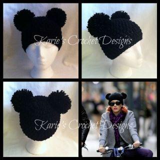 mickey mouse pom pom ears beanie hat handmade crocheted