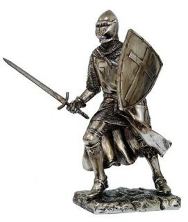 MEDIEVAL KNIGHT 7H CRUSADER ENGAGING IN BATTLE STATUE FIGURINE SUIT