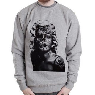 Marilyn Monroe Skull Tattoo Grafitti Art Grey men Heavy Crewneck