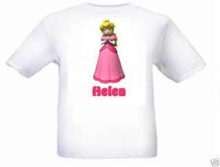 super mario princess peach personalised kids t shirt more options