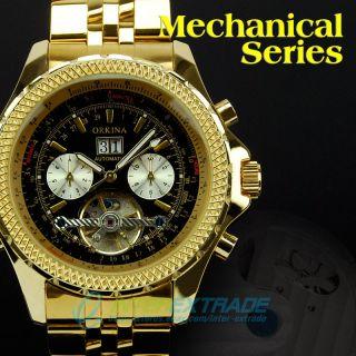 Gift Auto Mechanical Tourbillon Calendar Business Mens Wrist Watch