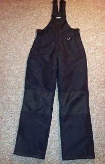 YOUTH SLALOM SNOW SKI PANTS ~ BLACK ~ XLARGE ~ ZIP FRONT OVERALLS