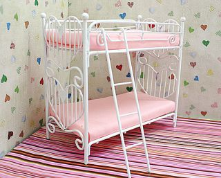 dollhouse miniature white iron big bunk bed furniture from china