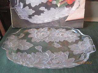 home beautiful crystal oblong tray 13 rose pearls patern time
