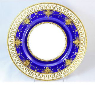 TIFFANY MINTON PORCELAIN CHINA SET 10 DINNER PLATES COBALT RAISED GOLD