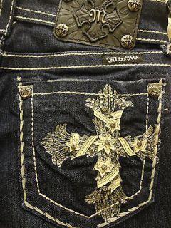 Miss Me Jeans NWT Leather Cross Stretch Denim Rhinestones Studs Boot