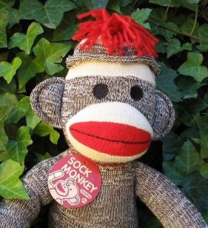 sock monkey 20 schylling retro stuffed toy plush doll new returns