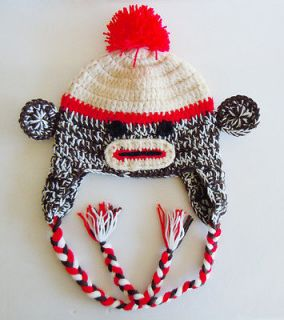 Crocheted Custom Sock Monkey Hat Baby Boy Girl Ear Flap Hat Photo Prop