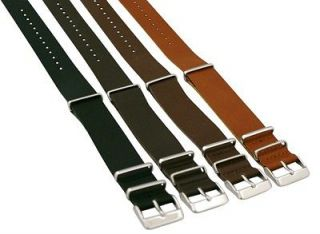 18MM LEATHER NATO Style MILITARY WATCH BAND Timex SOLID Strap FITS ALL