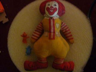 Lot of 3 old McDonalds toys doll Ronald McDonald, Grimace, Hamburglar