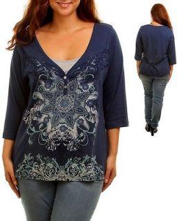 NAVY BLUE RHINESTONE MISSY PLUS SIZE WOMENS TOP CLOTHING SHIRT TUNIC