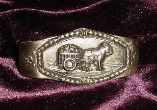 Vintage Bill Band BRASS DONKEY & FRUIT CART MONEY HOLDER Folk Art