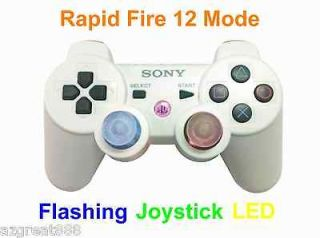 New PS3 Modded DualShock 3 Rapid Fire Flashing LED White Controller 12