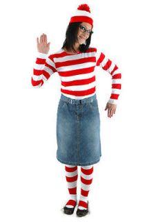 Wheres WALDO Wenda Stripe Shirt Hat Glasses Costume WOMENS S M L XL