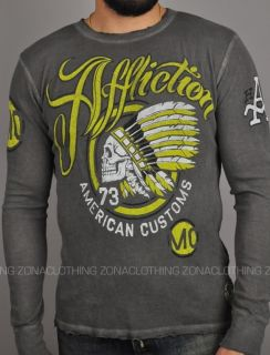 Affliction American Customs MOJO RISING Mens Thermal Charcoal Motors