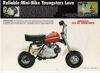 1972 honda qa50 k1 mini bike motorcycle brochure ncs from