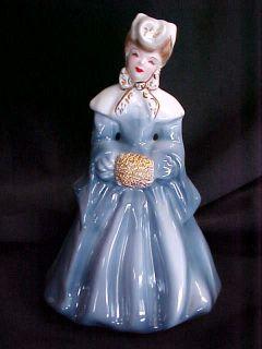 Vintage Antique Florence Ceramic Blue Elaine Woman Doll Figurine